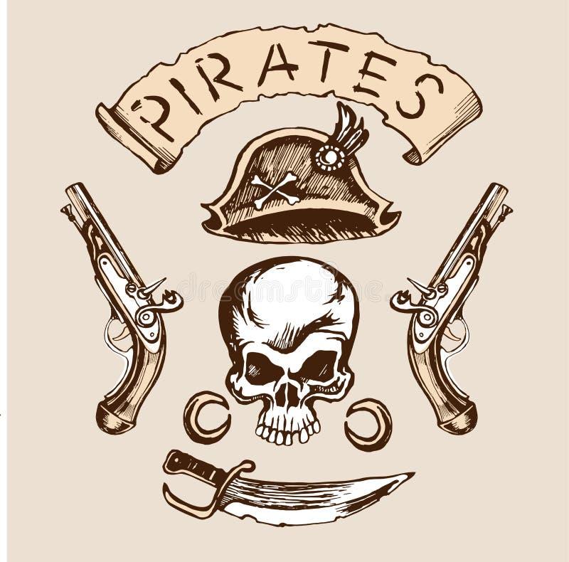 Het messenmusketten van de schedelhoed royalty-vrije illustratie