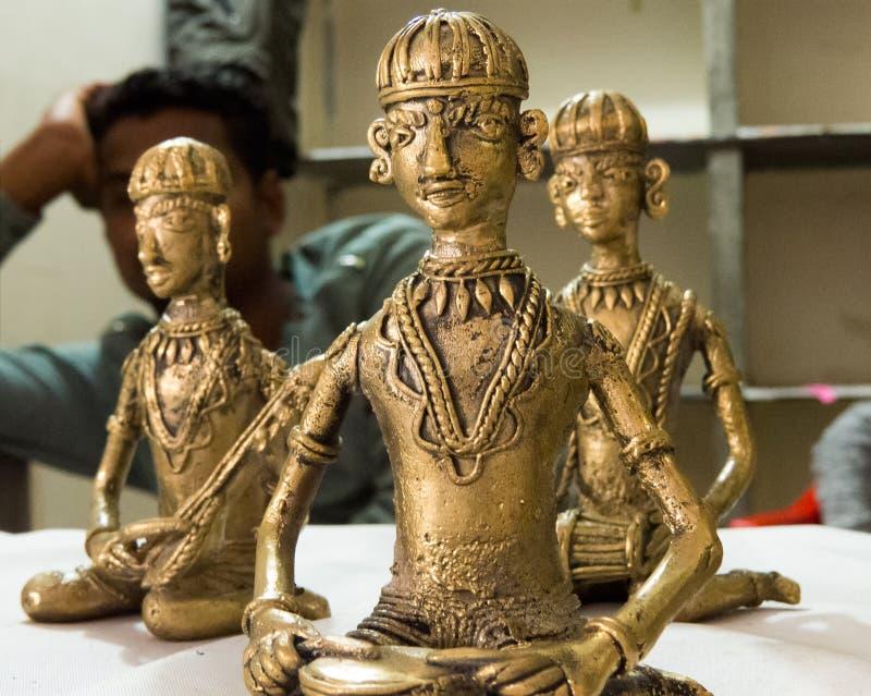 Het messingsbeeldhouwwerk leidde tot Stammeninwoners van India royalty-vrije stock foto