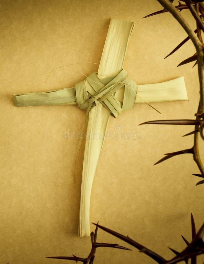 Het met de hand gemaakte die Kruis van de Palmtak door Kroon van Doornen wordt omringd royalty-vrije stock foto