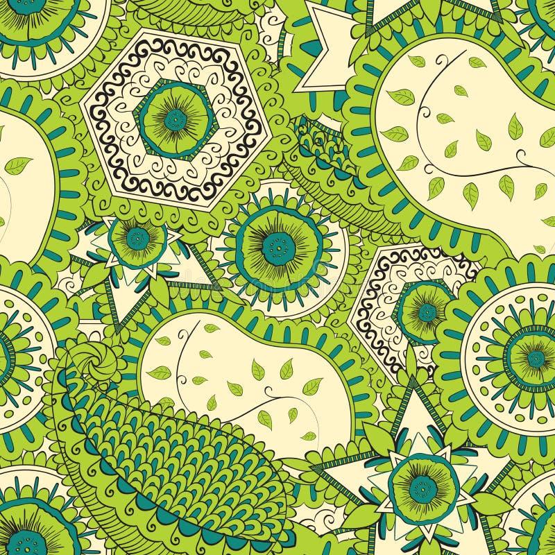 Het met de hand gemaakte patroon van Mehenditracery, Naadloos, vector illustratie