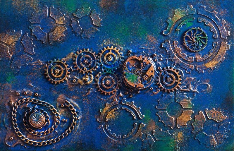 Het met de hand gemaakte uurwerk steampunk van achtergrond mechanische radertjeswielen stock foto's