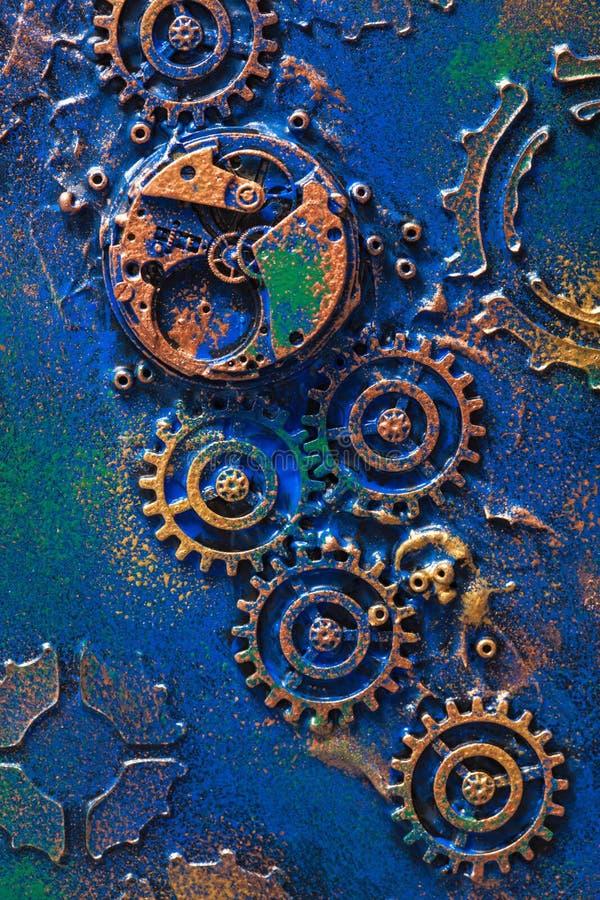 Het met de hand gemaakte uurwerk steampunk van achtergrond mechanische radertjeswielen stock afbeelding