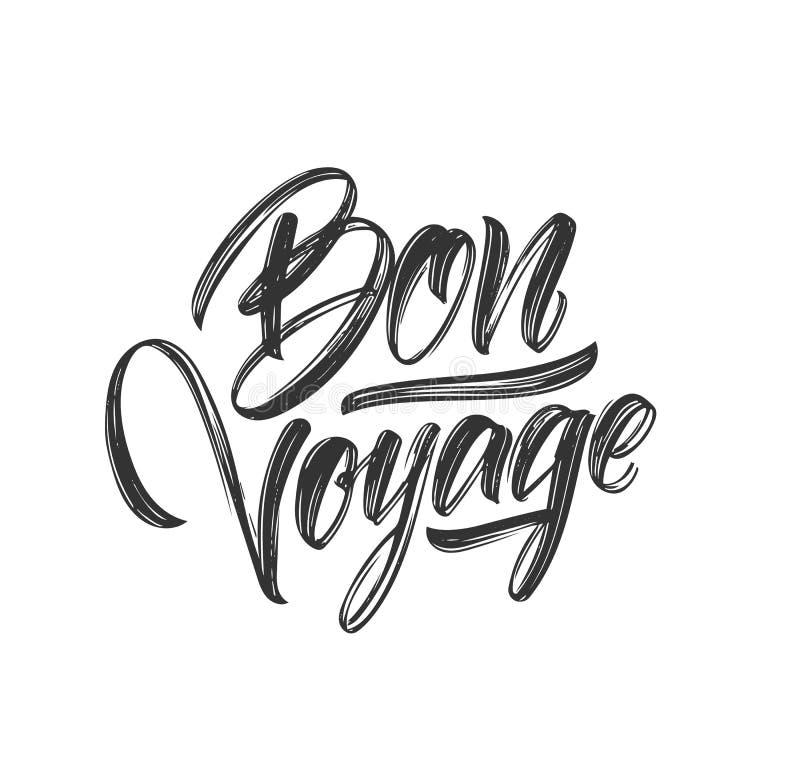 Het met de hand geschreven borsteltype van letters voorzien van Bon Voyage op witte achtergrond vector illustratie