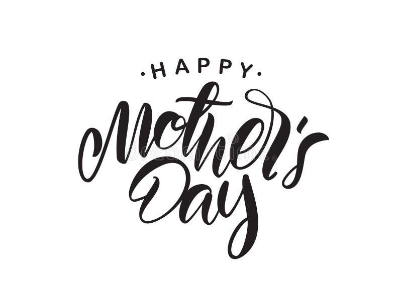 Het met de hand geschreven type van letters voorzien van Gelukkige die Moeder` s Dag op witte achtergrond wordt geïsoleerd stock illustratie