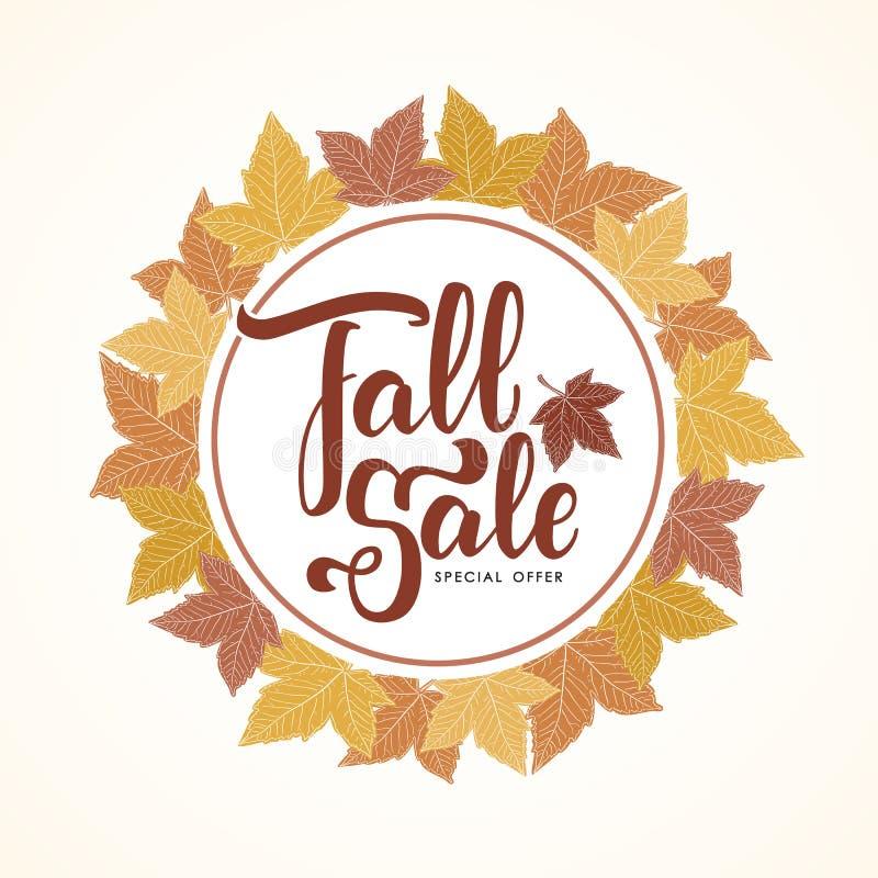 Het met de hand geschreven van letters voorzien van Dalingsverkoop op de hand getrokken achtergrond van de herfstbladeren stock illustratie