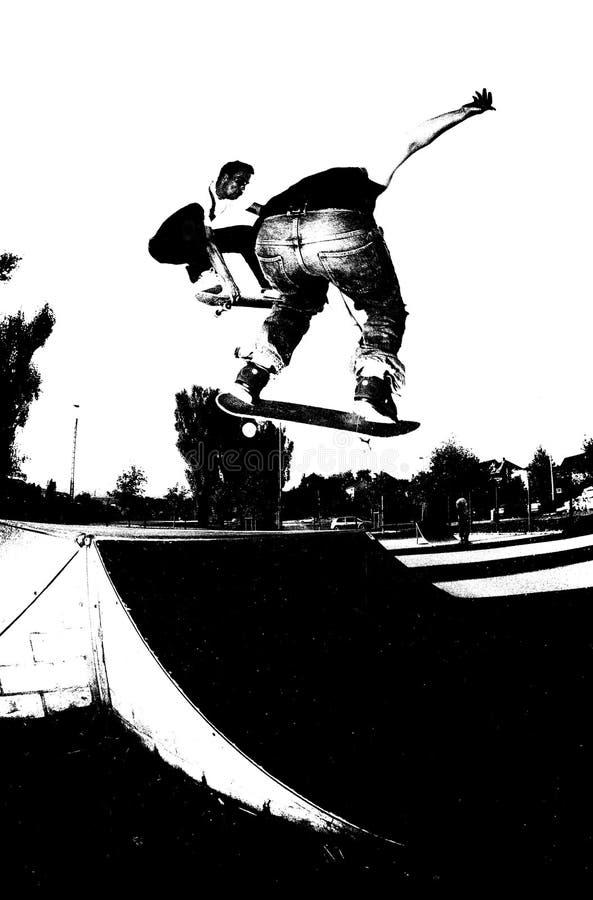 Het met een skateboard rijden: dubbel probleem stock illustratie