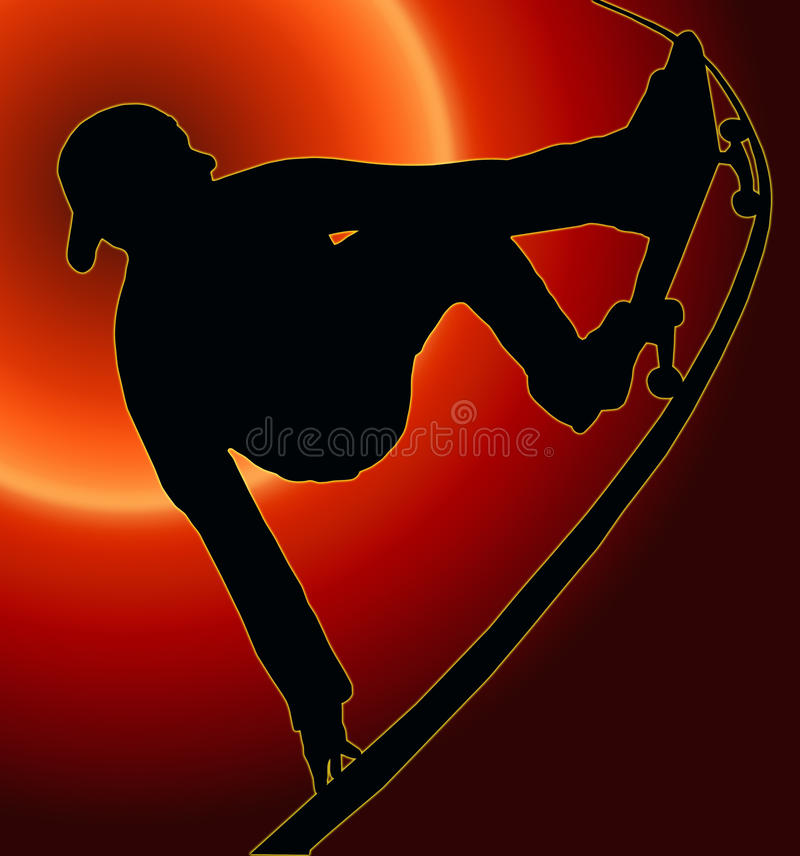 Het Met een skateboard rijden van de zonsondergang de AchterGreep van de Helling Vert royalty-vrije illustratie