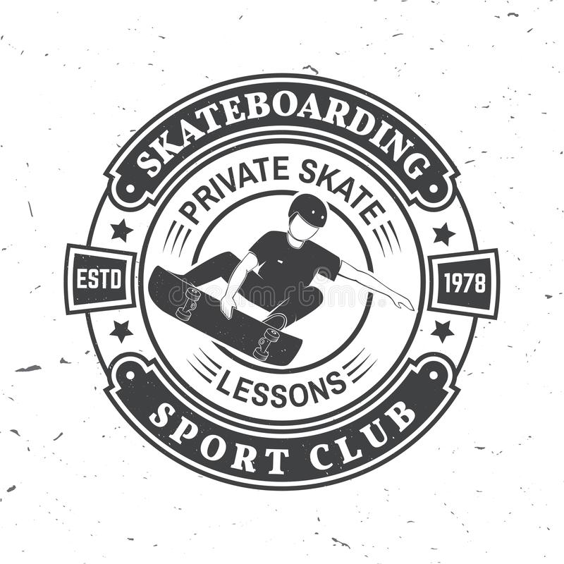 Het met een skateboard rijden van het kenteken van de sportclub Vector illustratie royalty-vrije illustratie