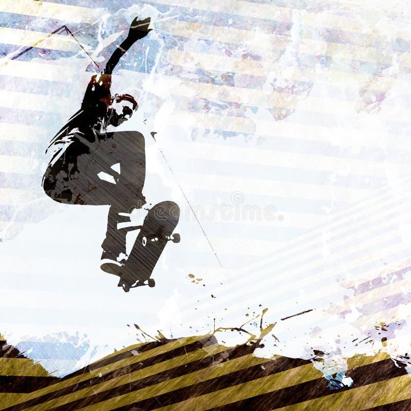 Het met een skateboard rijden van Lay-out Grunge royalty-vrije illustratie