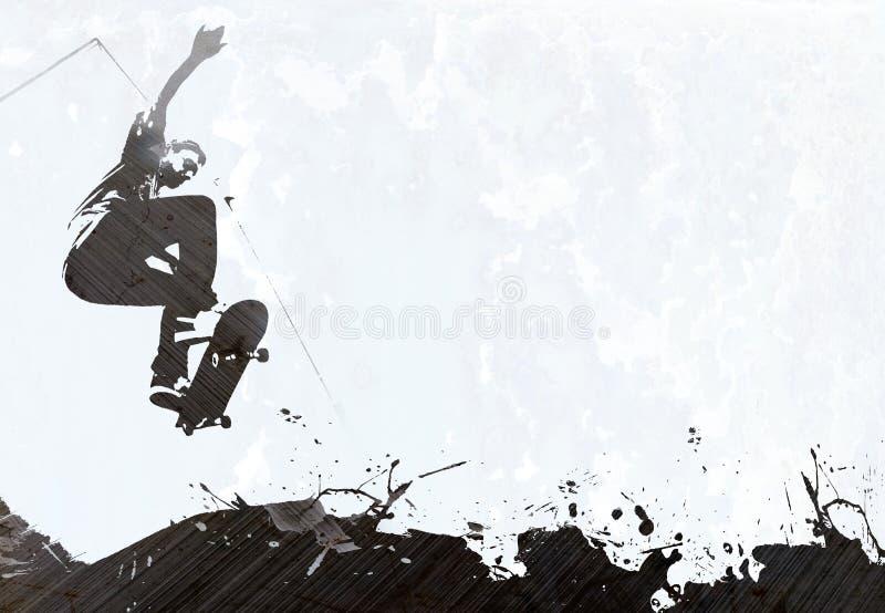 Het met een skateboard rijden van Lay-out Grunge vector illustratie
