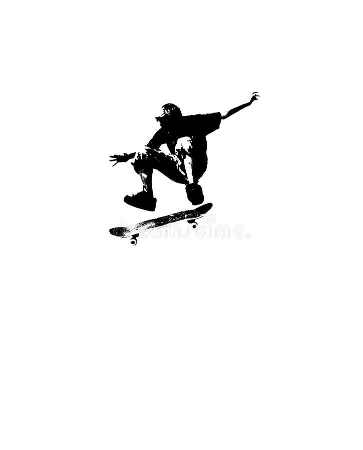 Het met een skateboard rijden van silhouet vector illustratie