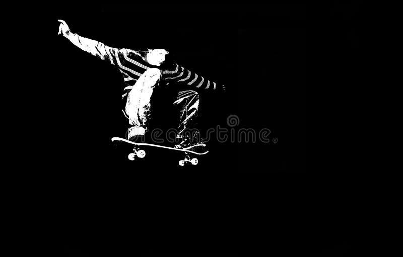 Het met een skateboard rijden van silhouet stock illustratie