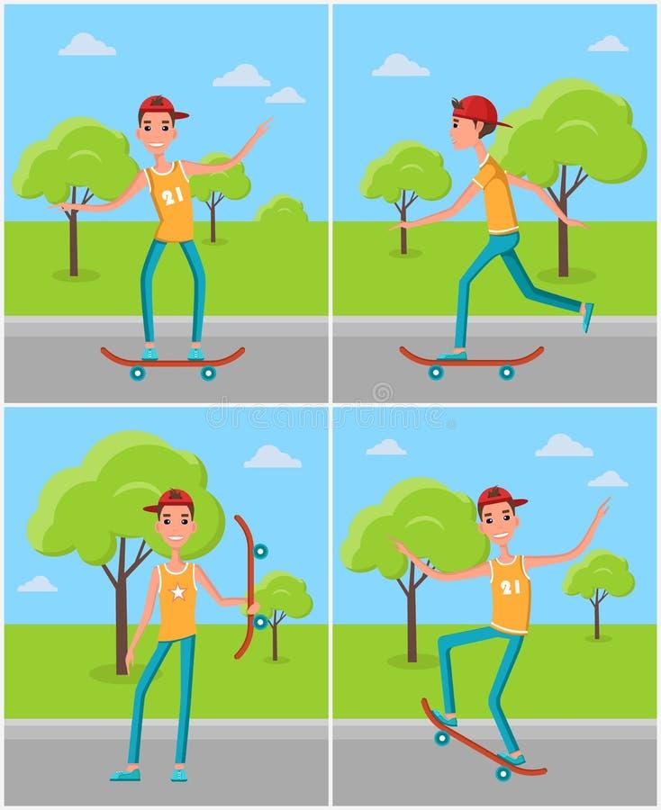 Het met een skateboard rijden van Vastgestelde Beeldverhaalkarakters Skateboarders vector illustratie