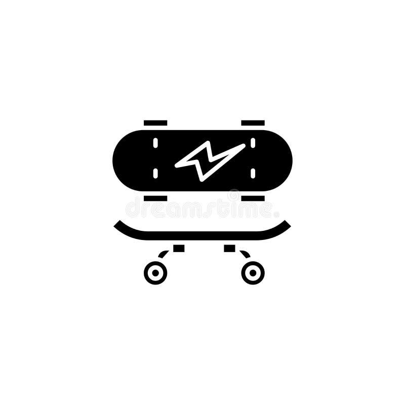 Het met een skateboard rijden van zwart pictogramconcept Het met een skateboard rijden van vlak vectorsymbool, teken, illustratie vector illustratie