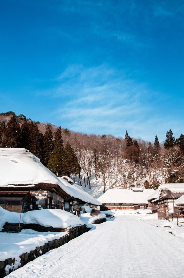 Het met stro bedekte dorp van Ouchi Juku van het dakhuis, Fukushima, Tohoku, Japan stock foto's