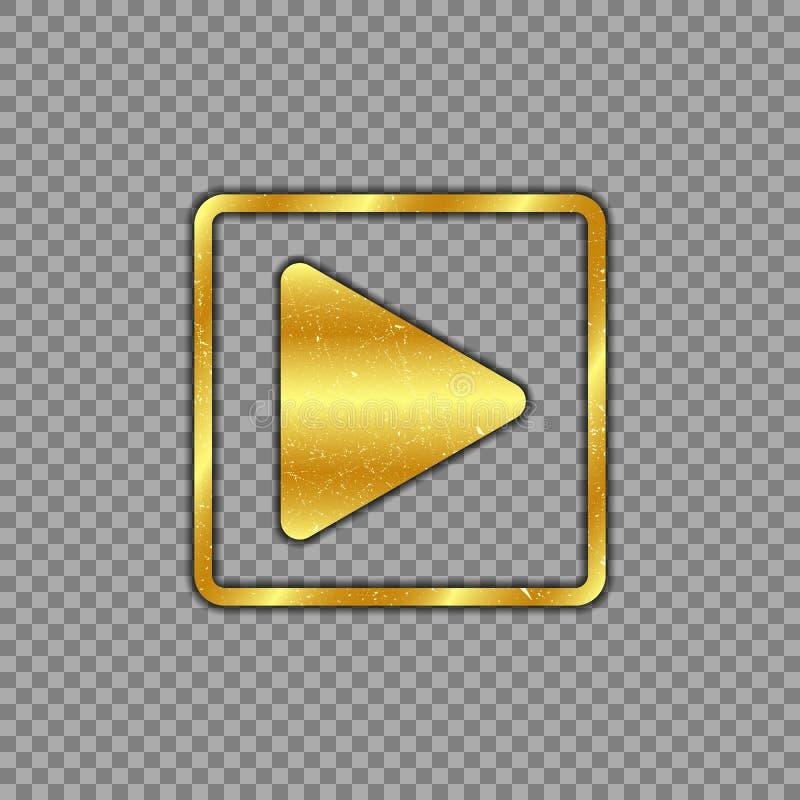 Het metaalgoud plateerde spelknoop op geïsoleerde transparante achtergrond De machtsknoop is gekrast, versleten Vector illustrati stock illustratie