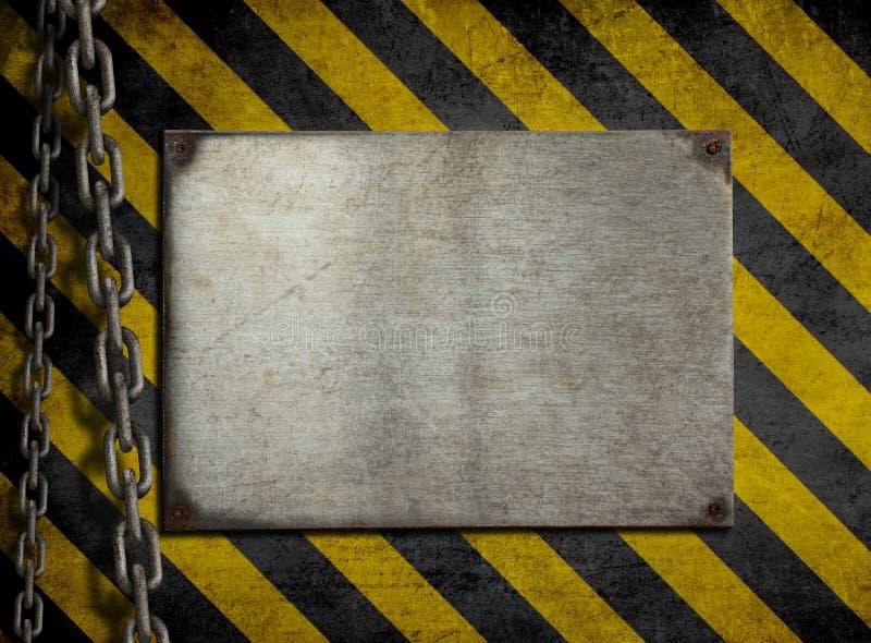 Het metaalplaat van Grunge met kettingen vector illustratie
