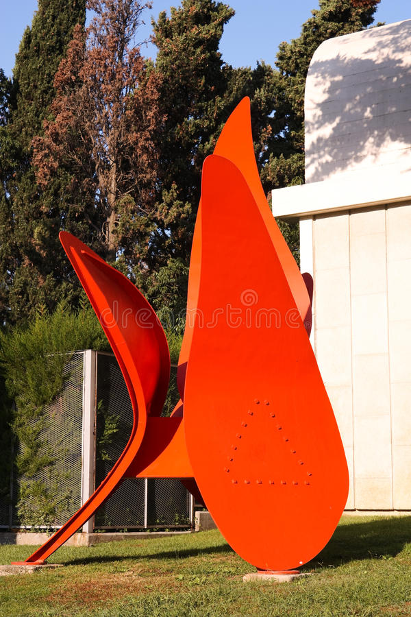 Het metaalstandbeeld van Joan Miro royalty-vrije stock foto