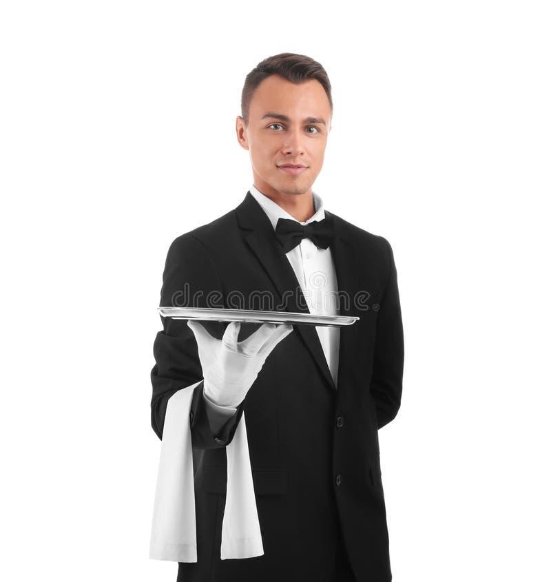 Het metaaltra van de kelnersholding royalty-vrije stock foto