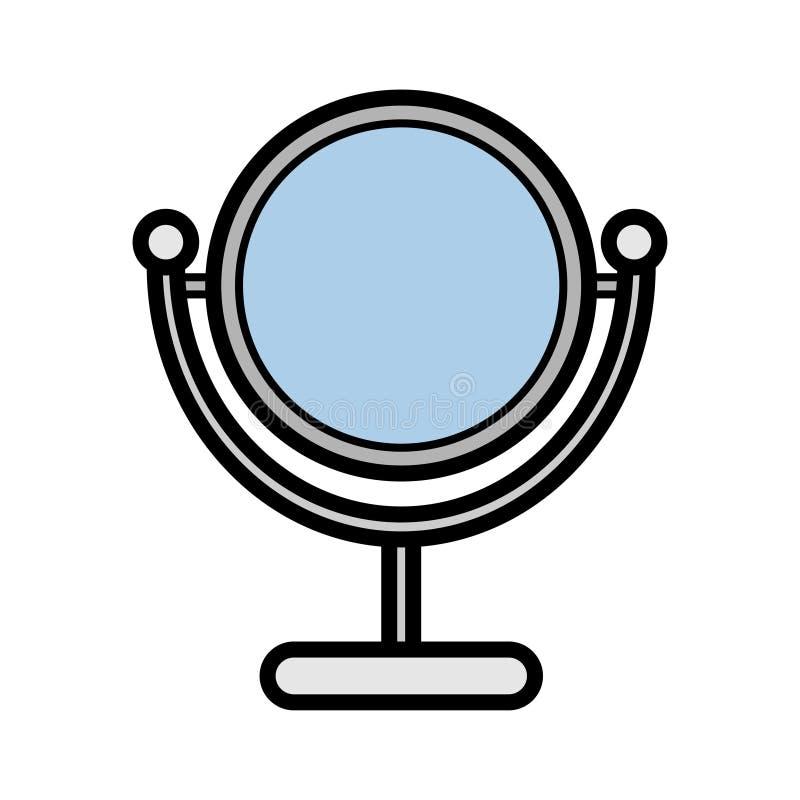 Is het Metall vlakke pictogram een eenvoudige modieuze betoverende ronde spiegel voor het toepassen van make-up met twee kanten m stock illustratie