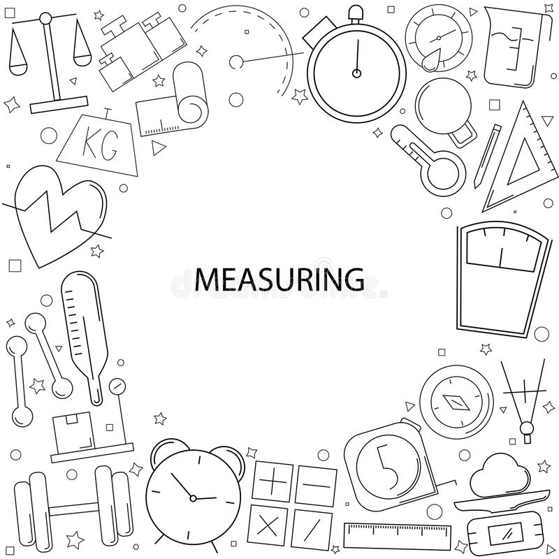 Het meten van achtergrond van lijnpictogram vector illustratie