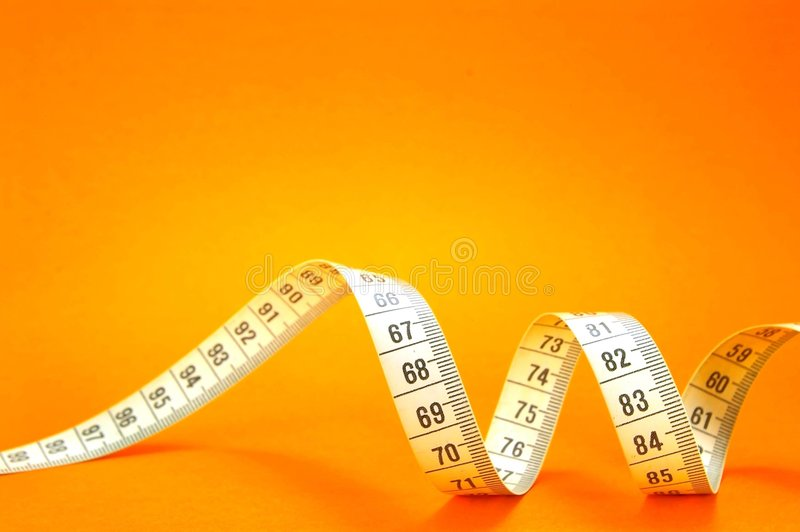 Het meten van Band op Sinaasappel stock foto's