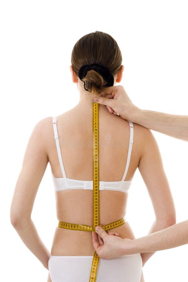 Het meten van de rug van de vrouw royalty-vrije stock afbeelding