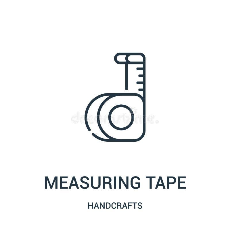 het meten van de vector van het bandpictogram van handcraftsinzameling Dunne lijn die het pictogram vectorillustratie meten van h stock illustratie