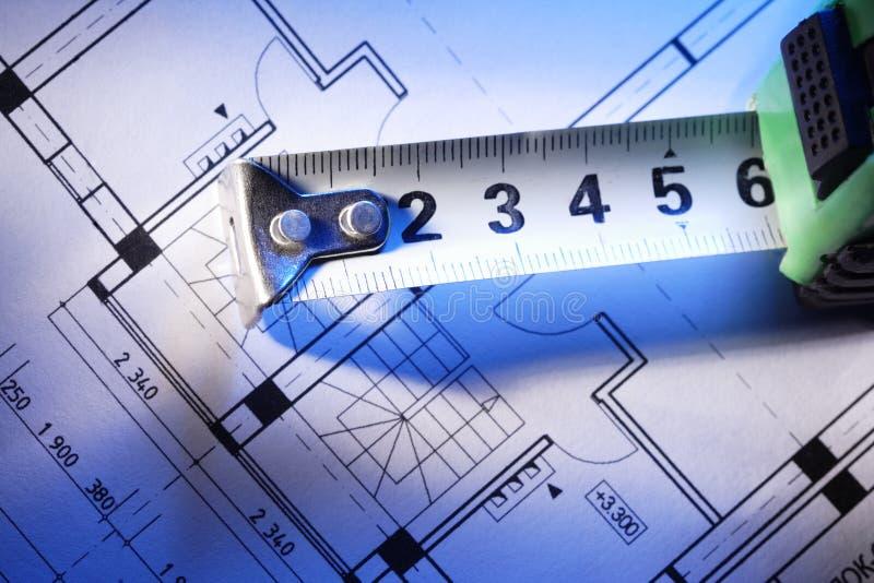 Het meten van hulpmiddel en ontwerp stock foto's