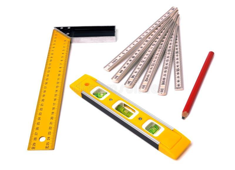Het meten van hulpmiddelen stock afbeelding