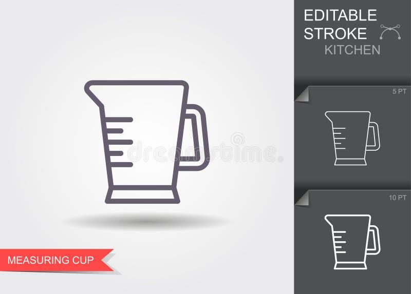 Het meten van kop Lijnpictogram met editable slag met schaduw vector illustratie