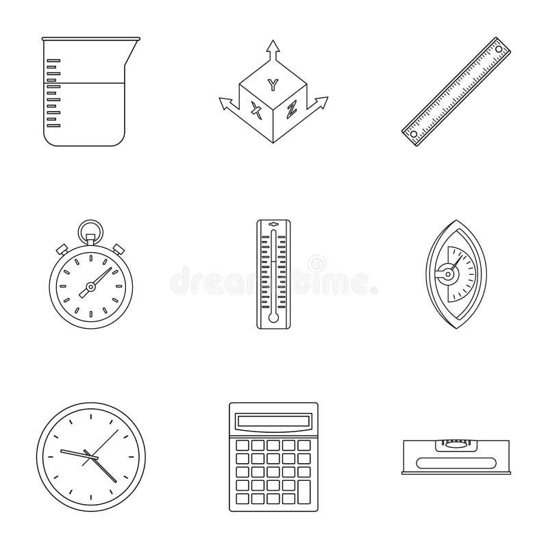 Het meten van pictogramreeks, overzichtsstijl stock illustratie