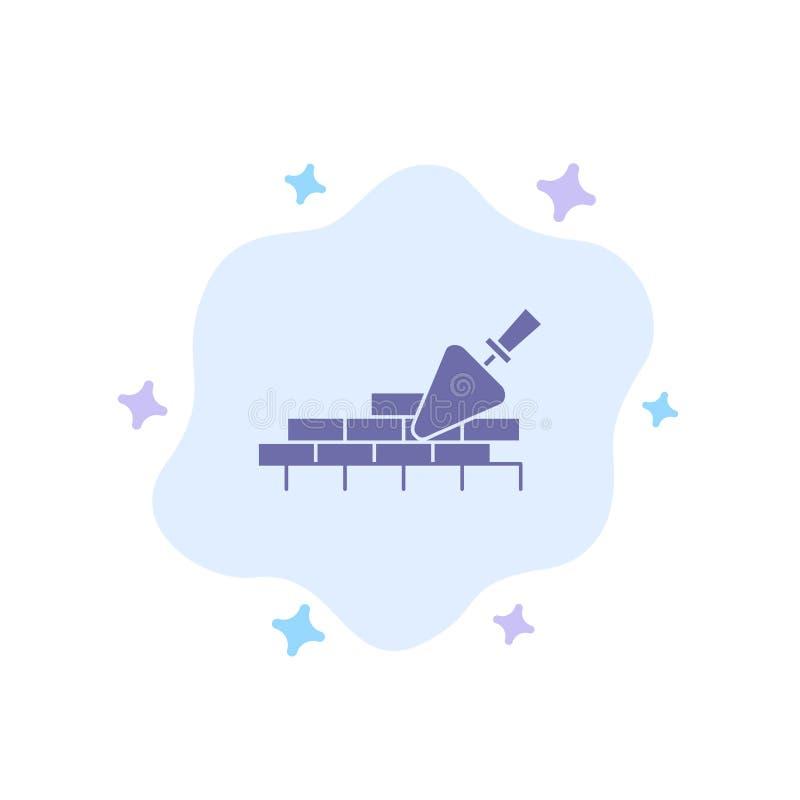 Het metselwerk, Metselaar, de Bouw, reist Blauw Pictogram op Abstracte Wolkenachtergrond royalty-vrije illustratie