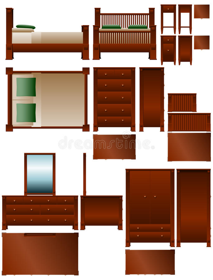 Het meubilair van de slaapkamer stock illustratie