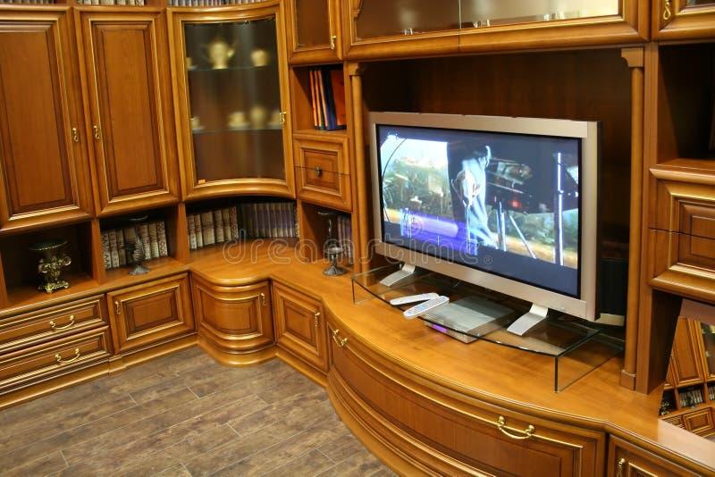 Het meubilair van TV en van de muur stock foto