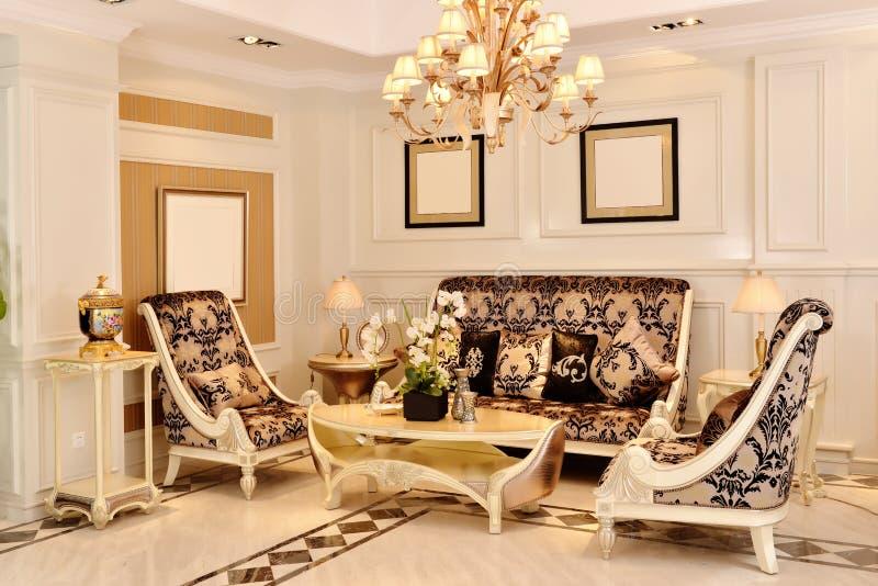 Het meubilairmontage van de luxewoonkamer stock afbeeldingen