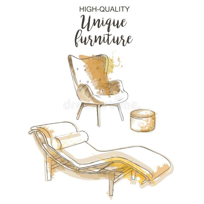 Het meubilairreeks van de stoelzitkamer stock illustratie