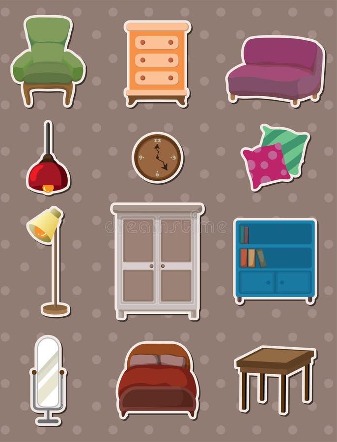 Het meubilairstickers van het beeldverhaal vector illustratie