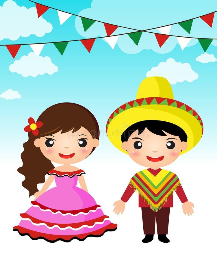 Het Mexicaanse beeldverhaal van het paar traditionele kostuum stock illustratie