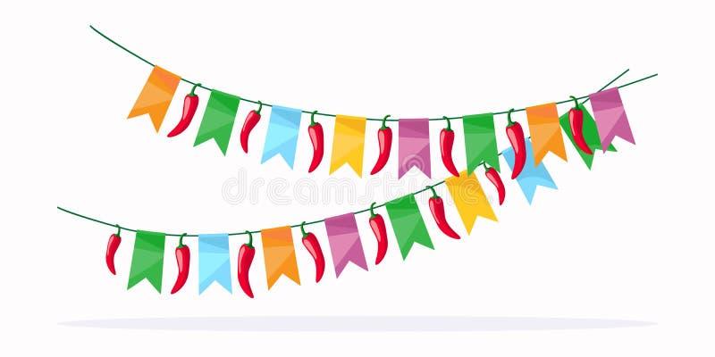 Het Mexicaanse detail van de fiestaviering stock illustratie