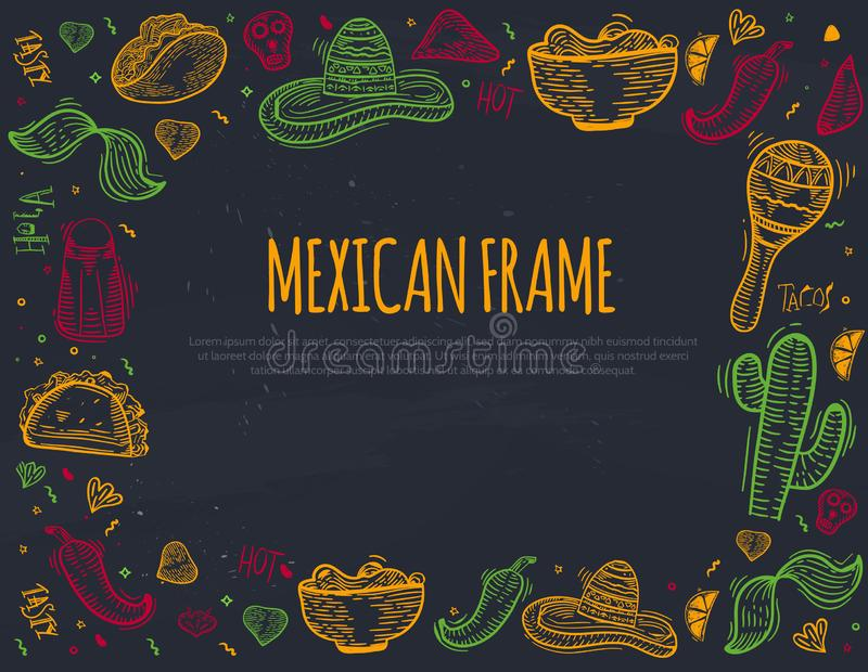 Het Mexicaanse kader van het schetspictogram met Spaanse peperpeper, sombrero, taco's, nacho, burrito voor banners, menu, geïsole stock illustratie