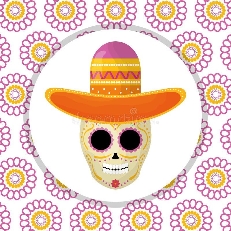 Het Mexicaanse masker van de schedeldood met mariachihoed op bloemenachtergrond stock illustratie