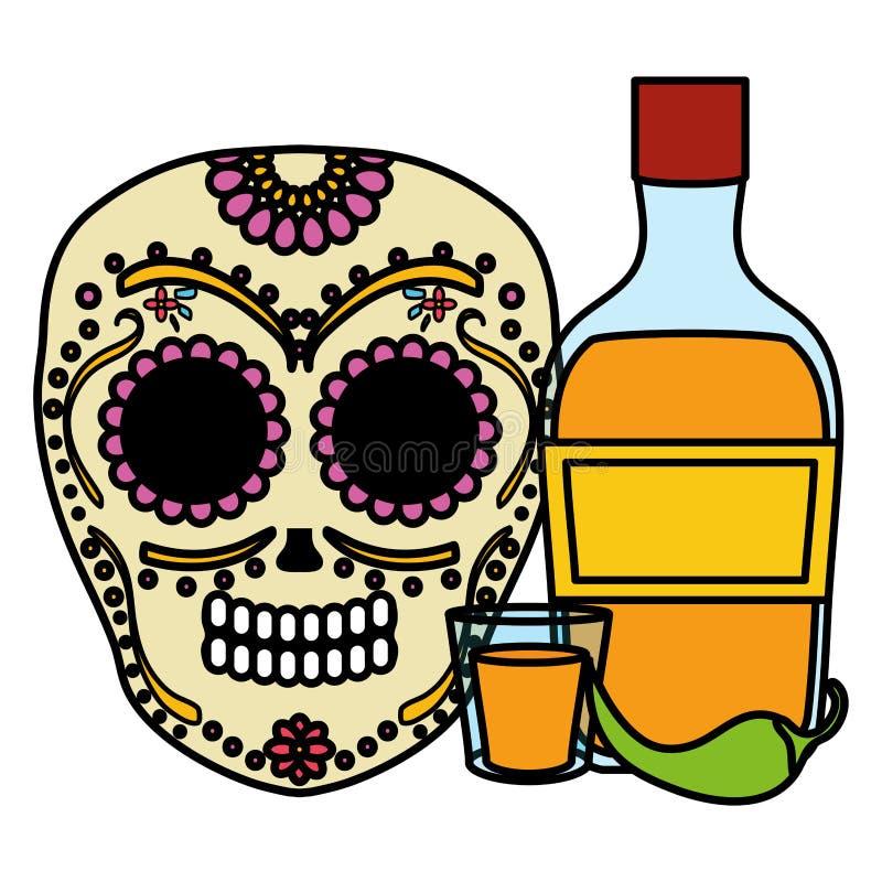 Het Mexicaanse masker van de schedeldood met tequilafles royalty-vrije illustratie