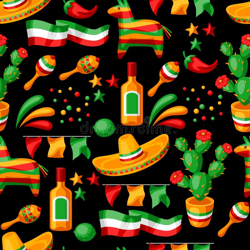 Het Mexicaanse naadloze patroon van Cinco de Mayo stock illustratie