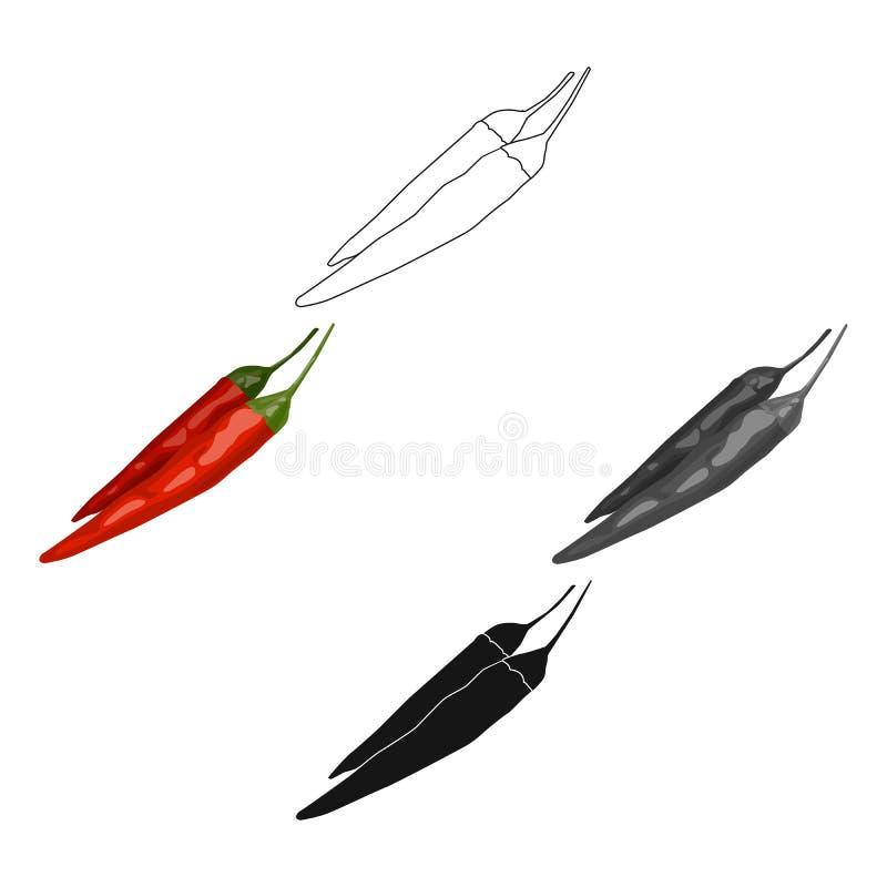 Het Mexicaanse pictogram van de Spaanse peperpeper in beeldverhaal, zwarte die stijl op witte achtergrond wordt geïsoleerd De vec stock illustratie