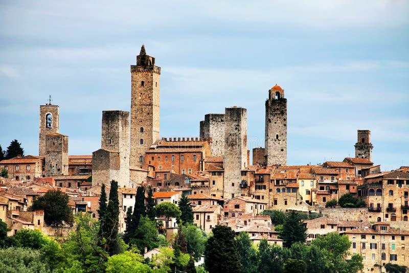 Het Middeleeuwse Dorp van San Gimignano stock afbeeldingen