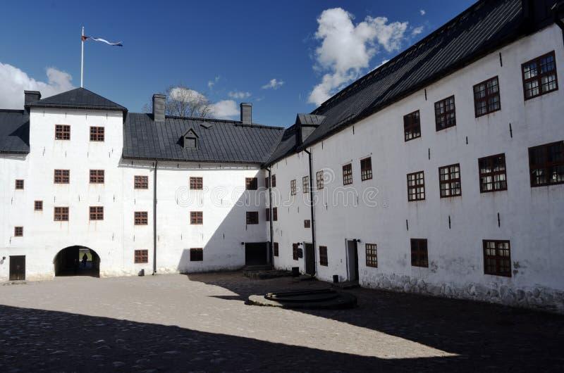 Het middeleeuwse kasteel in Turku, Finland stock foto's