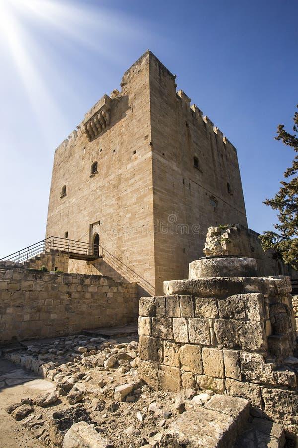 Het middeleeuwse kasteel van Kolossi stock foto's