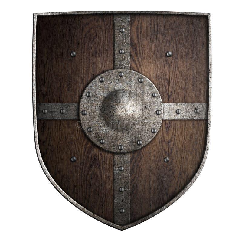 Het middeleeuwse kruisvaarder houten schild isoleerde 3d illustratie royalty-vrije illustratie