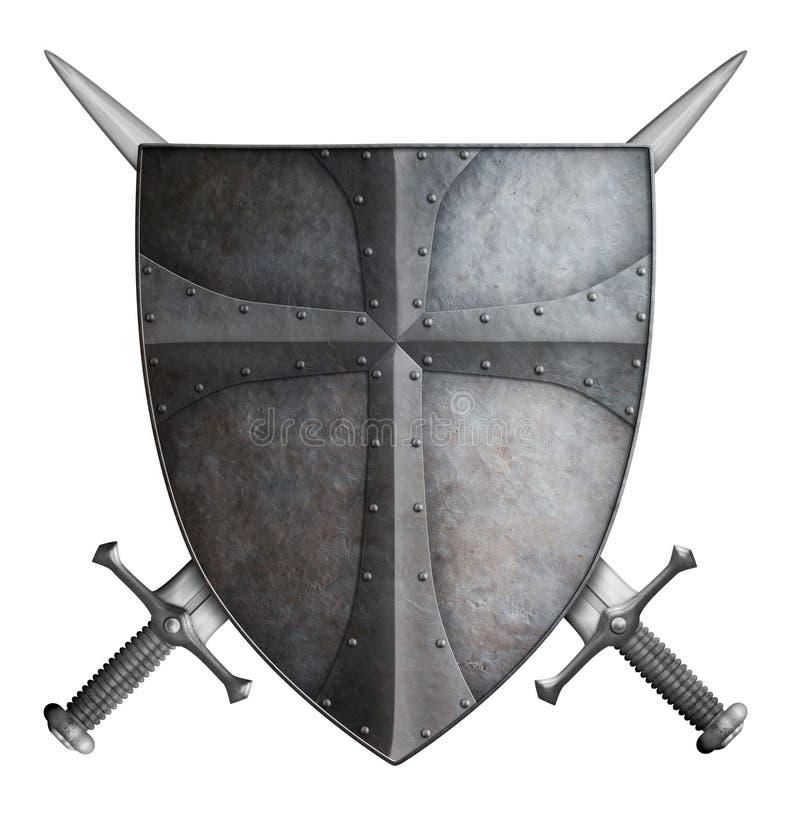 Het middeleeuwse kruisvaarderschild en twee gekruiste zwaarden isoleerden 3d illustratie royalty-vrije illustratie